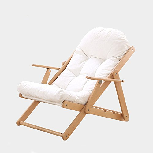 Rocker Lunch - Lounge chair YNN Folding Lunch Break Lounger Lounger Folding Office Rocker Chair Lounger Wood Balcony Chair (Color : White)