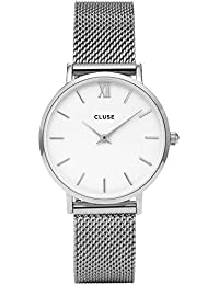 Womens Minuit 33mm Steel Bracelet Metal Case Quartz White Dial Analog Watch CL30009