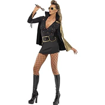 Smiffys Karneval Damen Kostum Elvis Viva Las Vegas Schwarz Rockstar