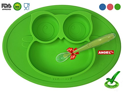 Meal Set Mini (Owl Silicone Placemat - Spill Proof Suction Plate for Baby, Kids, Children, Toddlers by Angel Home (Green))