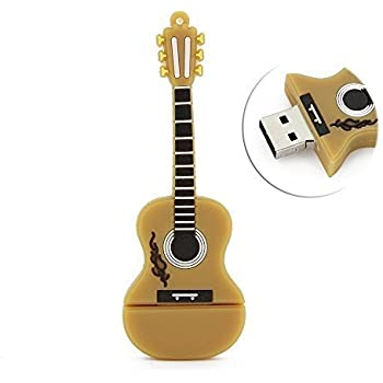CHUYI Cartoon Guitar Shape 64GB USB 2.0 Flash Drive USB Flash Disk Pen Drive Jump Drive Memory Stick Pendrive (Yellow)