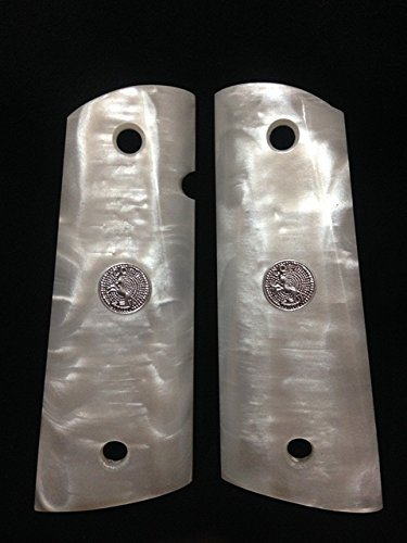 New Colt 1911 1991 Full Size Kimber Clones Springfield Pearl Color Polymer Resin Grips Silver Medallions Checkered Handmade