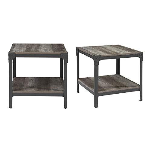 - WE Furniture Grey Wash Angle Iron Wood Small End Tables For Living Room, Set of 2 Side Accent Table Nightstand Rustic