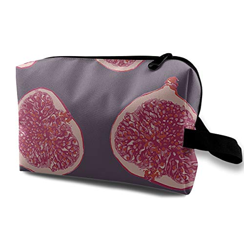 Watercolor Figs Pattern Cosmetic Bag Toiletries Bags Makeup Pouch Accessories Pen Pencil Power Lines Storage Travel Cases Of Resistance Carry Handle ()