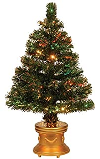 2eb6a37a534f Celebrations 36-Inch LED Fiber Optic Prelit Artificial Christmas Tree in  Gold Base