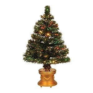 Celebrations 36-Inch LED Fiber Optic Prelit Artificial Christmas Tree in Gold Base 62