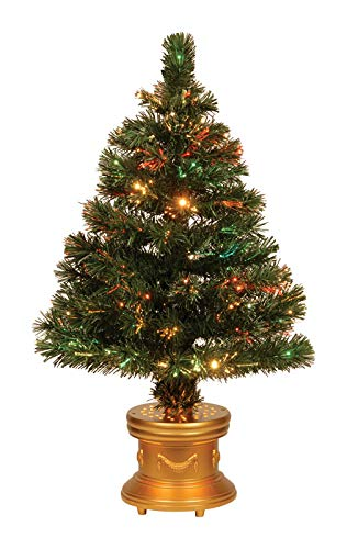 Celebrations 36-Inch LED Fiber Optic Prelit Artificial Christmas Tree in  Gold Base - Amazon.com: Celebrations 36-Inch LED Fiber Optic Prelit Artificial