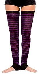 Black & Purple 30 Inch Thigh High Stripe Leg Warmers KD dance New York Sexy Stretch Knit Ballet Dance Yoga Diabetes #Dancewear #OnSale #Casual High Quality #Fashion @KDdanceNewYork #Lounge #MadeInUSA