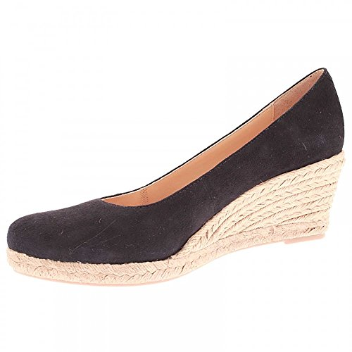 Marian Low Wedge Closed Toe Shoe Navy Suede