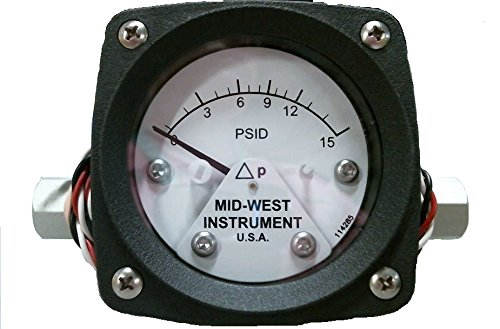 Mid-West 122-AA-02-O(MA)-15P Differential Pressure Gauge with Aluminum Body and Stainless Steel Internals, 1 Reed Switch Clamp-On, Piston Type, 5% Full Scale Accuracy, 2-1/2