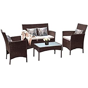 BLUR HORIZON Panana Rattan Garden Furniture Set 4 Piece Dining Table Chair Sofa Set for Patio Brown
