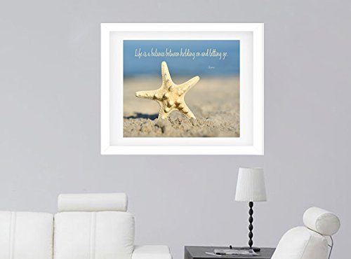 Starfish Photographic Print, Inspirational Wall Art, Life is a Balance Quote Photo, Large Seashell Picture, Coastal Cottage Beach Decor, Bathroom Bedroom Office Wall Decor