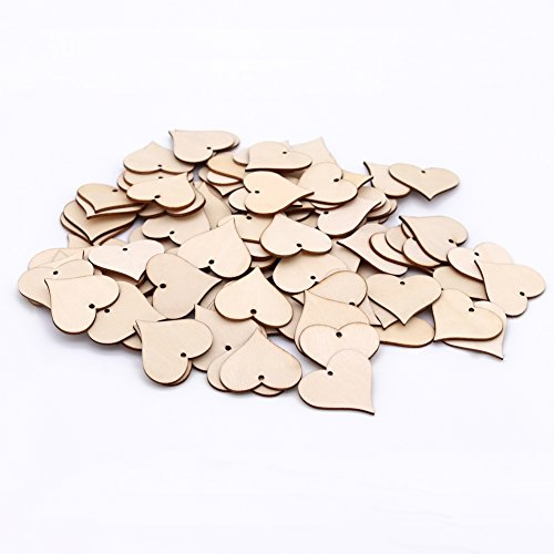 Winrase 100pcs Wooden Art Craft Love Heart Piece Blank Name Tags Blessing Gift Tags Wood Slices with Hole Decorative Supplies for Birthday / Wedding / Christmas / Home decoration