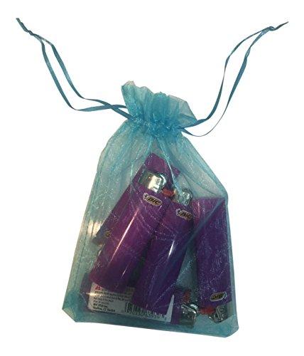 BIC 5pc's Purple Lighters, Brand New, Fluid Full, w/ Gift Bag - Lighter Bag