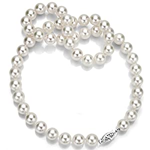 14k White Gold 9-9.5mm Handpicked AAA White Japanese Akoya Cultured Pearl Necklace, 18