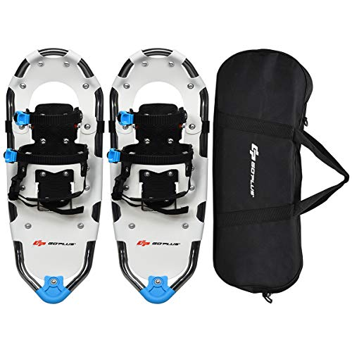 """Goplus 21""""/25""""/30"""" Snowshoes for Men and Women, Lightweight Aluminum Alloy All Terrain Snow Shoes with Adjustable Ratchet Bindings with Carrying Tote Bag (White, 21"""")"""