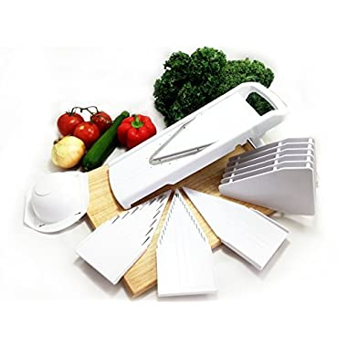 Dynamic Chef Mandoline Slicer, V Slicer, Fruit Slicer & Vegetable Slicer, Adjustable Mandoline – 5 Blade Inserts - INCLUDED: How-To Video
