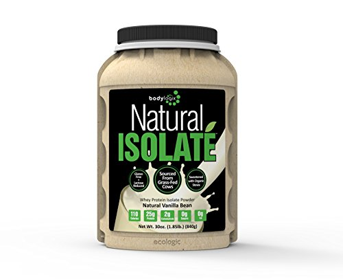 Bodylogix Natural Whey Protein Nutrition Shake, Isolat vanille, 1,85 Pound