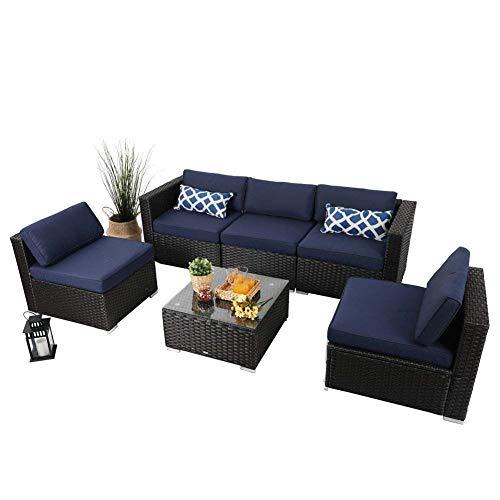 6 Piece Patio Rattan Furniture Set Outdoor Furniture Wicker Sofa Conversation Sofa Set, Navy-Blue (6 Piece Patio)