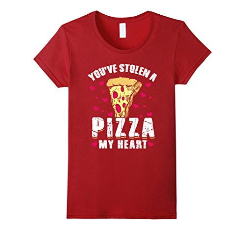 Womens Stolen Pizza My Heart Funny Valentines Day Shirt Food Gift Small Cranberry