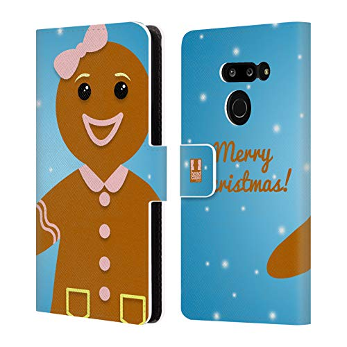 Head Case Designs Gingerbread Woman Jolly Christmas Leather Book Wallet Case Cover Compatible for LG G8 ThinQ