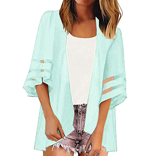 Huajuyan Women Mesh Panel 3/4 Bell Sleeve Solid Color Casual Loose Kimono Cardigan Outwear (2XL, Light Blue)