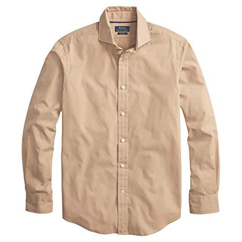 Polo Ralph Lauren Mens Solid Poplin Sport Shirt (XL, NoLogo.Camel)