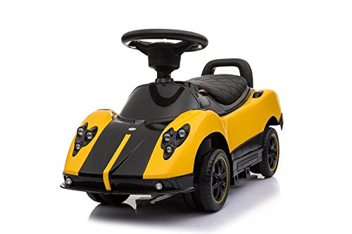 Licensed Pagani Multi Function 6V Kid Drive-able Ride on Stroller Push Car (Yellow)