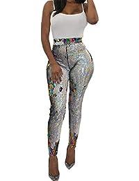 Womens Glitter All Over Sequin High Waisted Leggings Long...