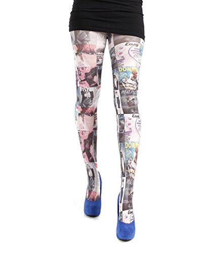 Pamela Mann Plus Size Magazine Print Tights (Multicolor, XXL) (Plus Print Tights Size)