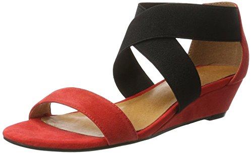 Bianco Sandale Mit Elastik Und Kleinem Keil - Sandalias con cuña Mujer Rot (Red)
