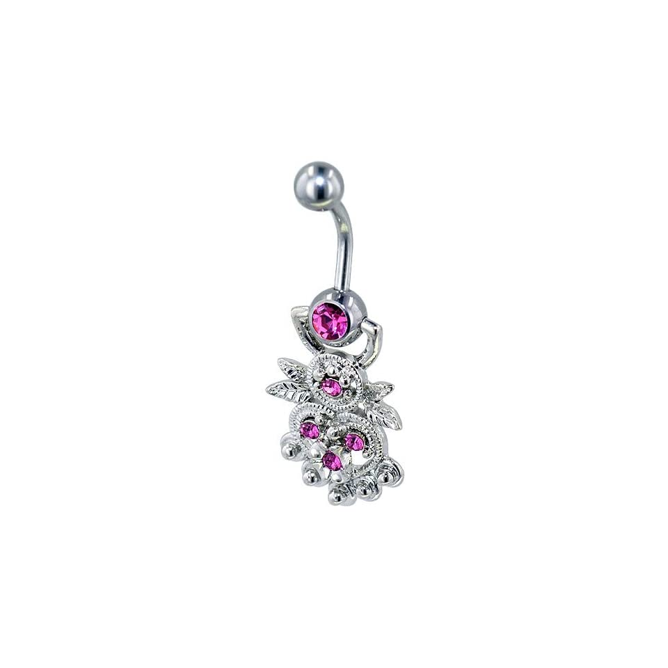 Pugster 316l Surgical Steel Hot Pink Decorative Heart Gem Belly Button Ring Navel Piercing Bar Body Jewelry