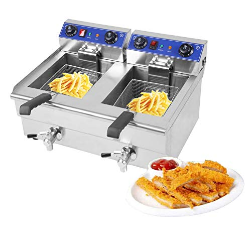 Blackpoolfa 26Liter Commercial Electric Dual Tank Stainless Steel Oil Fryer Deep Fat Fryer Electric Deep Fryer with Timer,Temperature Control, Viewing Window – Silver