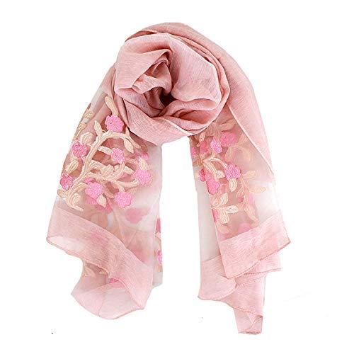 Sun Kea Women's Long Scarf Money Tree Embroidery Sun Wrap Shawl Ladies Silk-Like Beach Towel (pink)