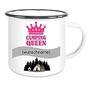 Crealuxe Emailletasse m. Wunschname (Wunschname) Camping Queen - Kaffeetasse mit Motiv, Bedruckte Tasse mit Sprüchen…