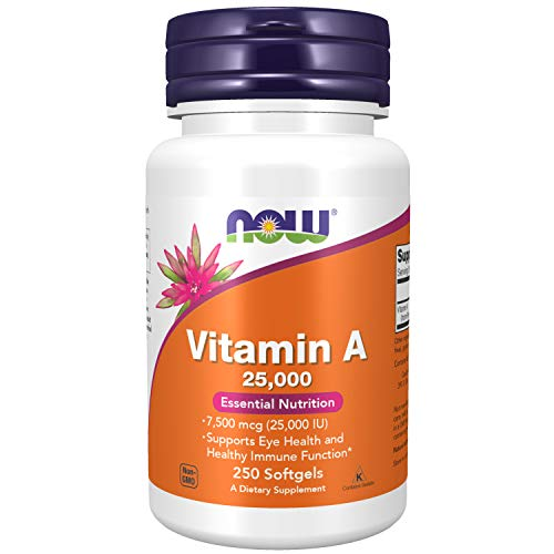 NOW Supplements, Vitamin A (Fish Liver Oil) 25,000 IU, Essential Nutrition, 250 Softgels