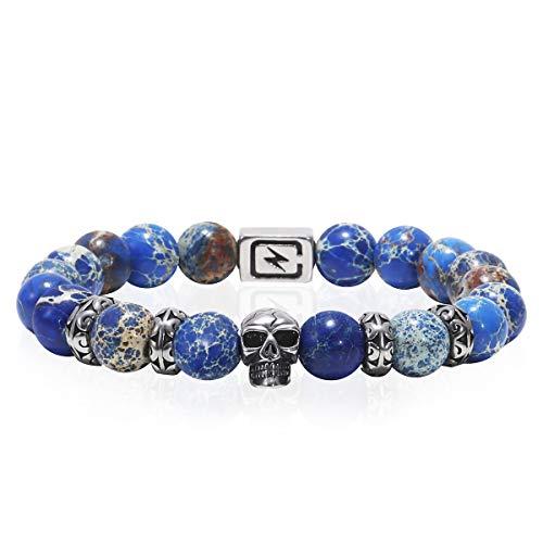 (Eletout Handmade 10mm Round Natural Semi Precious Gemstone Beaded Stretch Bracelets (Skull&Regalite))