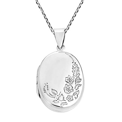 AeraVida Engraved Tropical Flora Oval Locket .925 Sterling Silver Necklace