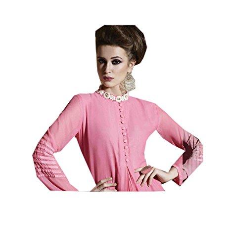 Top Travail Mode Jayayamala Georgette Femmes Bouton Tunique Nouvelle Manches Rose Style Longues PvnOwFnq