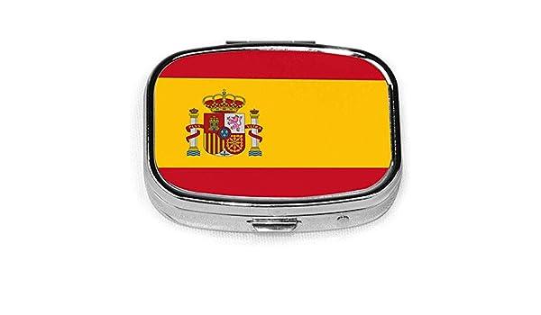Pastillero Icono rojo de cajas de pastillas amarillas con bandera española, estuche portátil rectangular de metal plateado, compacto 2 espacio, estuches para pastillas: Amazon.es: Salud y cuidado personal