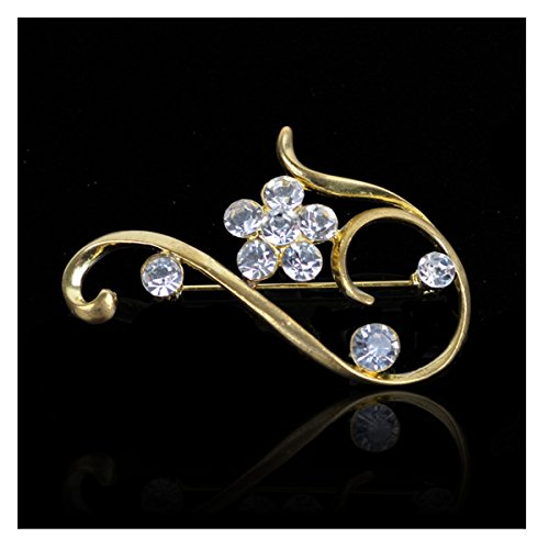 Elegant Blossom Plum Flower Crystal Brooch Pin ()