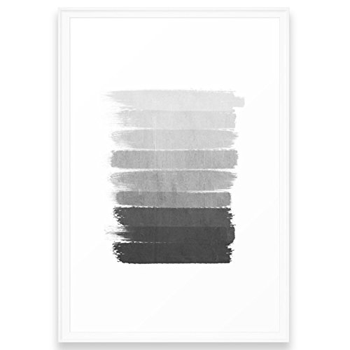 Ombre Scoop (Society6 Brushstroke - Ombre Grey, Charcoal, Minimal, Monochrome, Black And White, Trendy, Painterly Art Framed Print Scoop White LARGE (Gallery))