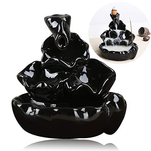 Pixnor Ceramic Glaze Incense Smoke Cone Burner Backflow Censer Tower Holder