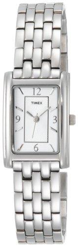 Timex Women's T2N046 Silver-Tone Fashion Rectangle Dress Watch