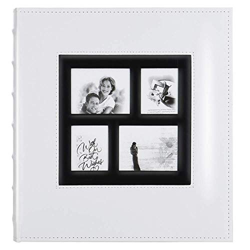 Artmag Photo Album 4x6 600 Photos, Large Capacity Wedding Family Leather Cover Picture Albums Holds 600 Horizontal and Vertical 4x6 Photos with Black Pages (White)