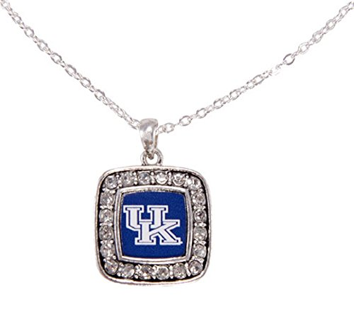 (Officially Licensed University of Kentucky Wildcats Square Crystal Studded Pendant Necklace)