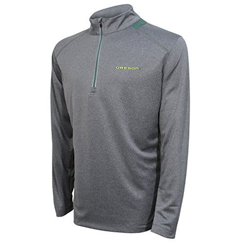 Crable NCAA Men's Quarter Zip with Team Neck Panel,Oregon Ducks,Heather Gray/Dark Green,Large