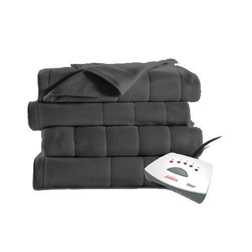 Sunbeam Heated Fleece Electric Blanket, Twin Size, 10 Hour Shut Off with a 6 Foot Cord, Gray Grey