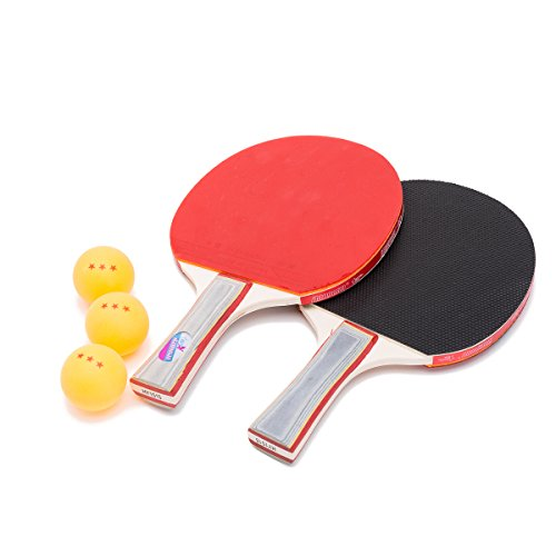 THY COLLECTIBLES Professional Ping Pong Paddle Set - Table Tennis Rackets with 3 Orange 3-Star 40mm Balls and BONUS Portable Storage Case. Perfect for any Experience Level (2 Players) by THY COLLECTIBLES