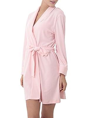 Lomon Women's Bathrobe Soft Warm Cotton Knit Kimono Robe Short Waffle Sleepwear